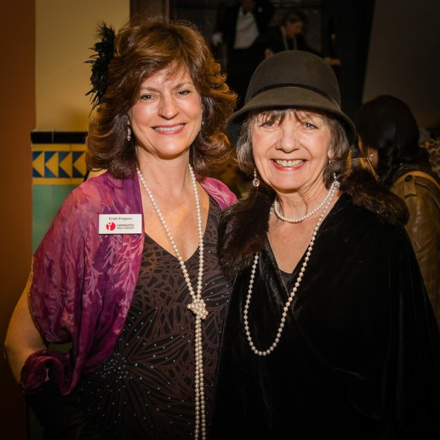 Station staffer Trish Poupore with Mary Ann Wilson by Joe Ring.jpg