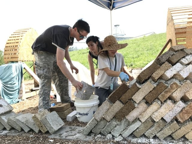 Leila Ehtesham building Gonbad with Kenny Parker and Sonia Silveira.jpg