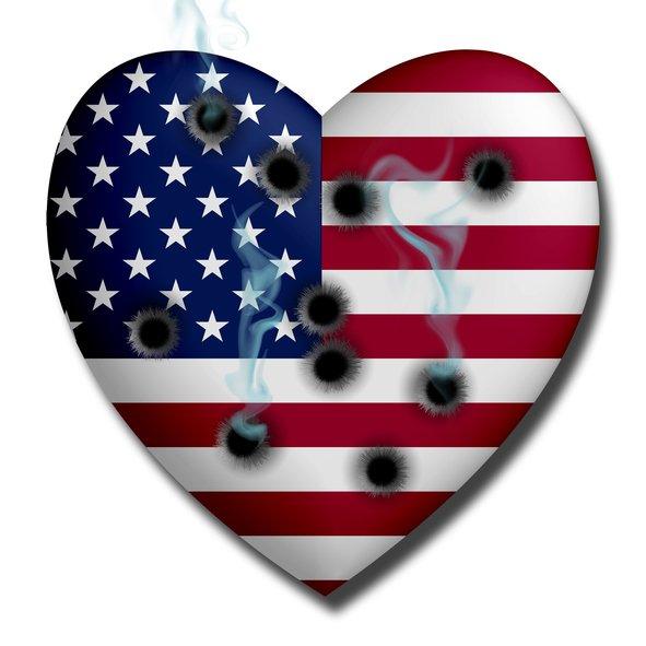 American flag heart bullet holes