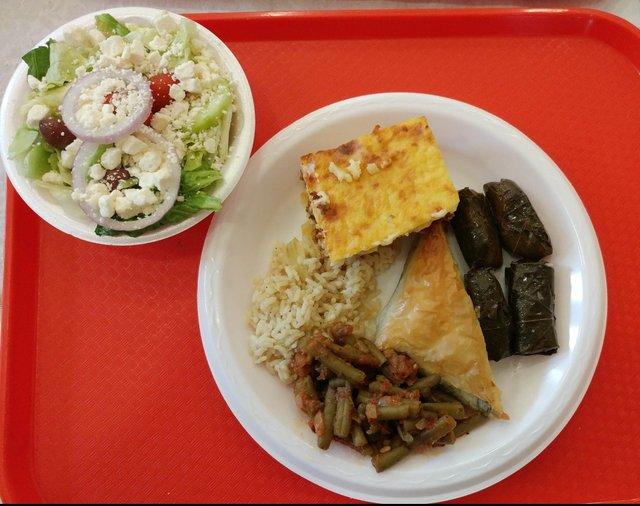 Pastichio, spanikopita, dolmades, yahni, rice, salad.jpg