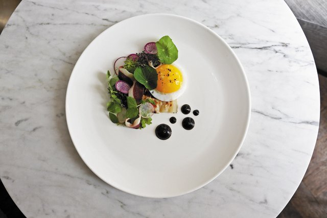 Feature_BestRestaurants_Maple&Pine_FriedDuckEgg,DuckProsciutto,Roasted-Salsify,Microgreens_JAYPAUL_rp1117.jpg