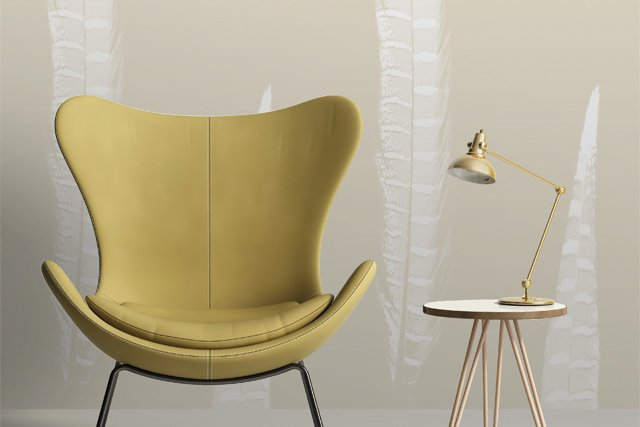 Modern mustard chair with a side table with hairpin legs