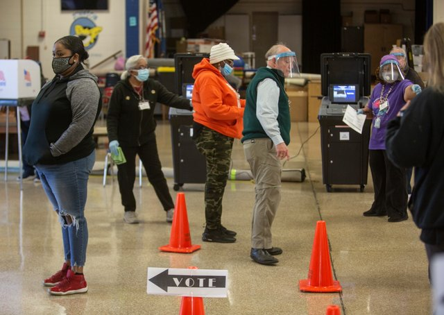 Poll Workers at Charles M Johnson ES.JPG