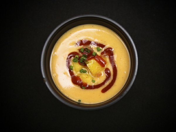 Lemaire's Powhatan cinderella pumpkin bisque with smoked country sausage and curried Virginia apples