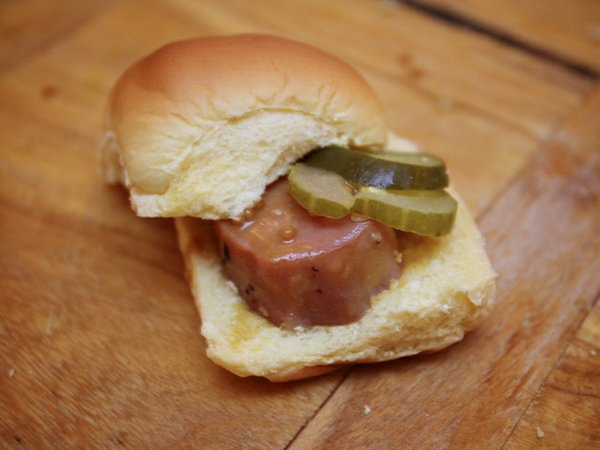 Pasture's house-cured ham steak sliders with bourbon mustard and spicy mustard pickles