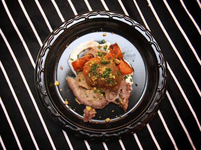 The Rogue Gentlemen's collaboration with Belmont Butcher: goatchetta with roasted carrots, vadouvan-curry applesauce and whipped goat ricotta