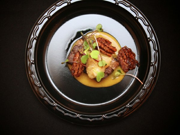 The Magpie's crispy beef tongue with braised pecans, Asian pear and pumpkin mostarda
