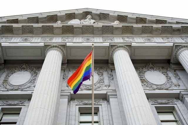 Pride Flag in front of Government Building